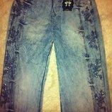 Летние джинсовые брюки с вышивкой на резинке Турция 34 размер