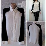 Шифоновая черно-белая блуза,рубашка