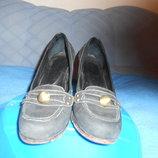Туфли черные замшевые р.38