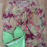Платье пляжное.цветочный принт