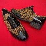 Туфли броги Clarks натур кожа мех пони 39 размер