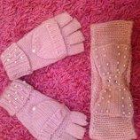 Продана Милый набор перчатки варежки полосочка