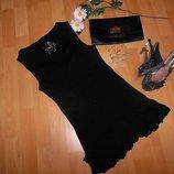 Маленькое черненькое платье майка с прошвой и рюшками