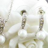 Шикарный набор Жемчуг покрытие 18К white Gold белое золото