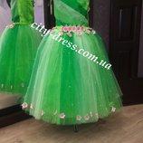 карнавальное детское платье весна ,зелёное платье , весна прокат