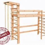 Недорогая кровать-чердак спортивный уголок. Доставка даром