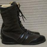 Деликатные комбинированные кожаные полусапожки на шнуровке.Laky.Италия