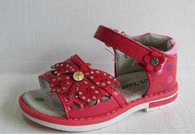 Босоножки для девочки красные с бабочкой