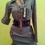 Стильное платье-рубашка KANER,клетка ПОЯС,Турция 38,40