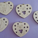 Сердце-Подвеска деревянная заготовка, сувенир