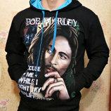 Спортивная кофта - худи с принтом Bob Marley с капюшоном.