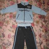 Теплый спортивный костюм с начесом, 100 хлопок На 2-3 года