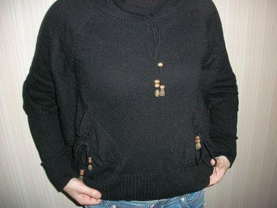 кофта свитер женский чёрный, свободный рукав р. М