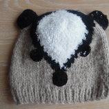 шапка детская мишка новая 2-6 лет коричневая паетки крот панда Peacocks