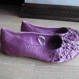Балетки туфли фиолетовые 17,5 см стелька новые фирменный блузок Monsoon фиолетовые цветки бусинки