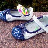 Туфли мокасины для девочки размер 21-13 см и 23-14,4 см белые с синим