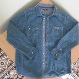рубашка тонкая рр L джинсовая мужская новая George Джорж Синяя