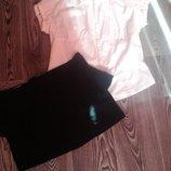 Женская белая блузка,рубашка с коротким рукавом 44 р