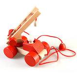 Динамическая деревянная игрушка -каталка Пожарная машина