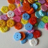 Пластиковая пуговица Цветочек, диаметр 15 мм,