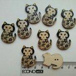Кошки деревянные пуговицы