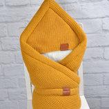 Конверт-Одеяло зимний вязаный на выписку в роддом для малышей