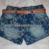 Джинсовые шорты для девочек 110-164 см