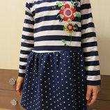 Синее платье с вышивкой Цветы