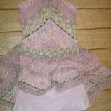 Платье-Сарафан в цветочном принте,иммитация кружева. А-Ля шифон, пышная юбка ярусами. S-M, 44-46.