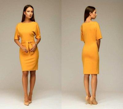 Платье с поясом рукав Летучая мышь от р40 по р52 классическое до колена футляр трикотажное