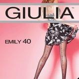 Колготки черные Тм Giulia emily 40 den с геометрическим вертикальным рисунком.