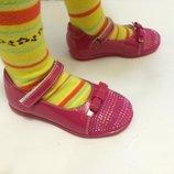 Детские туфли розовые для девочки со стразами