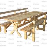 Стол и 2 скамейки для сада, дачи