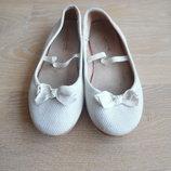 балетки туфли белые 20 см оригинал красивые Zara Зара ткань кофейные бант