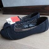 туфли мокасины балетки 18,6 см детские черные новые оригинал с бирками эко кожа замша George Джорж
