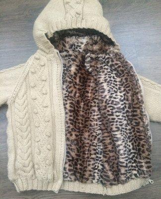 Двухсторонняя вязанная кофта куртка