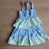 платье девочке 18-24 рост голубое салатовое котон цветки пышное Cherokee Чероки новое