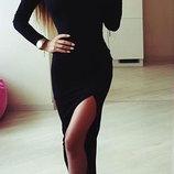 Повседневное трикотажное платье с разрезом Мелани спортивное от рр40 по рр48 2 цвета