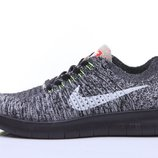 Кроссовки Nike Free Run Flyknit - серо-черные