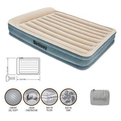 Велюровая кровать с подголовником и встроенным насосом 220V. 67534. 203 152 43 см.