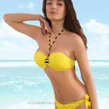 В наличии Желтый купальник с плавками и лифом на завязках на большую грудь