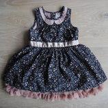 платье девочке нарядное красивое новое 12-18 мес фирменное звездочки розовое серое пышное пачка