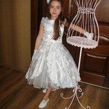 Бальное белое платье Роза для выпускного Прокат.