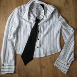 рубашка в полоску с галстуком, сорочка