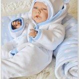 Шикарный комплект набор на выписку новорожденных Облачко 7 предметов