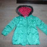 куртка детская 2-3 г девочке зеленая сост новое красная горошек тифани цвет Marks&Spencer