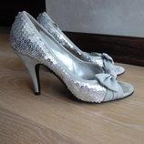 босоножки женские 24 см стелька паетки блестки серые бант каблук New Look Нью Лук