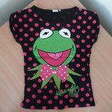 футболка красивая 9-13 лет жаба зеленая черная красная черная котон Disney Дисней