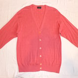 Кардиган розовый, хлопок, батал XL