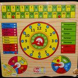 Деревянные часы-календарь